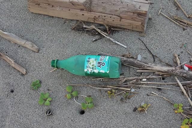 海岸に流れ着いた韓国の漂流ゴミ