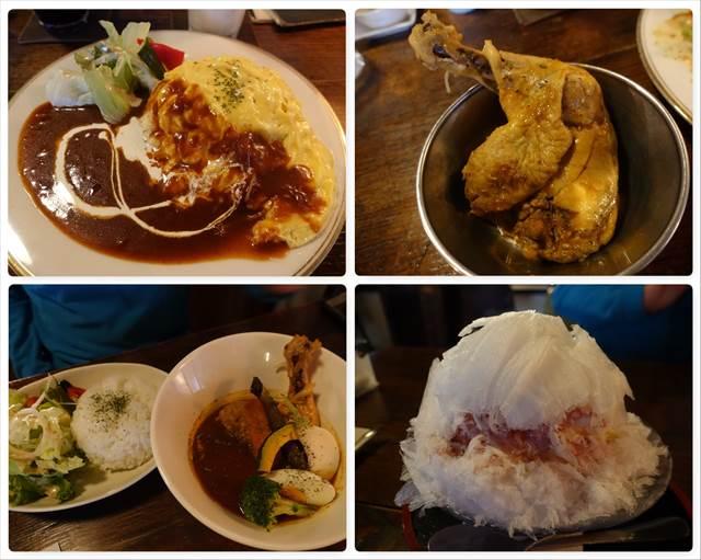 日光珈琲で食べたオムライス&スープカレー&カキ氷(練乳かけいちご)