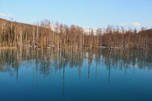 北海道の観光地、青い池