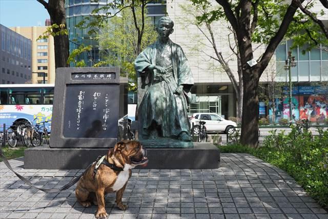 石川啄木の銅像【札幌大通公園】